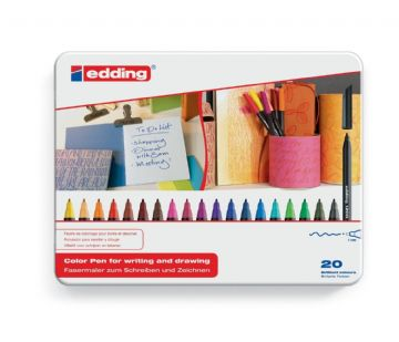 EDDING 1200 ARTIST FELT TIP ART ILLUSTRATION DRAWING PENS Metal Gift Tin of 20